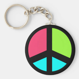 colorful peacesign basic round button keychain