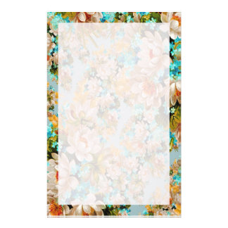 Colorful Peach and Teal Mint Floral Stationery