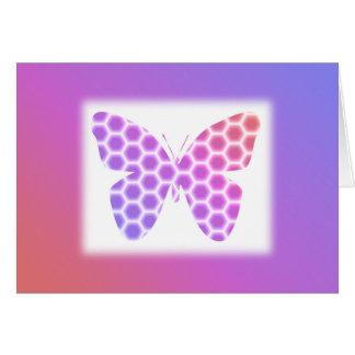 Colorful Peach Pink Purple Geometric Butterfly Art Card