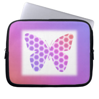 Colorful Peach Pink Purple Geometric Butterfly Art Computer Sleeve