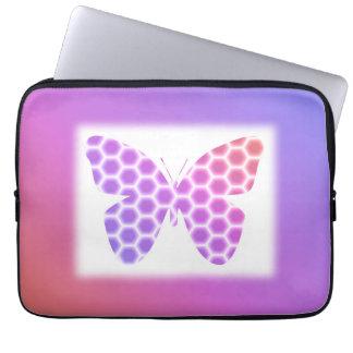Colorful Peach Pink Purple Geometric Butterfly Art Laptop Sleeve