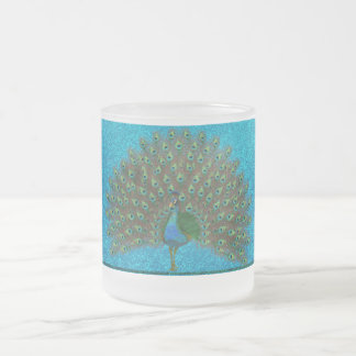 Colorful peacock 10 oz frosted glass coffee mug