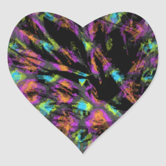 Colorful Peacock Abstract Heart Sticker