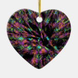 Colorful Peacock Abstract Double-Sided Heart Ceramic Christmas Ornament