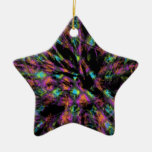 Colorful Peacock Abstract Double-Sided Star Ceramic Christmas Ornament