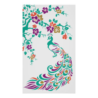 Colorful peacock and cherry blossoms poster