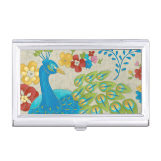 Colorful Pea And Flowers Business Card Holder