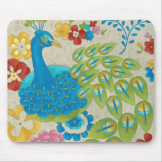 Colorful Peacock and Flowers Mouse Pad