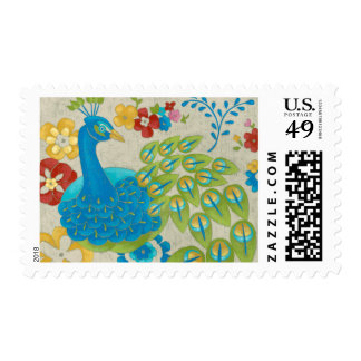 Colorful Peacock and Flowers Postage