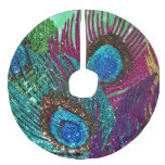 Colorful Peacock Faux Linen Tree Skirt