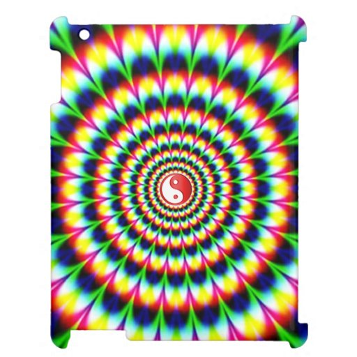 Abstract Lion With Yin Yang: Colorful Peacock Feather Circle Abstract Yin-Yang Cover