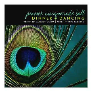 Colorful Peacock Feather Classy Photo Party Invite