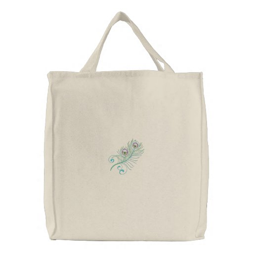 Colorful peacock feather embroidered tote bag