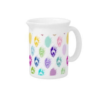 Colorful Peacock feather print Beverage Pitcher