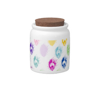 Colorful Peacock feather print Candy Jar