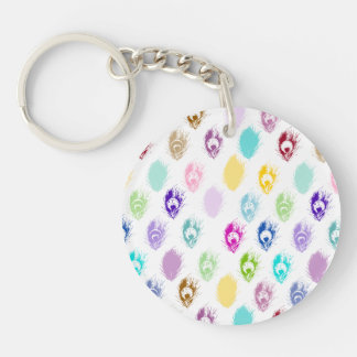 Colorful Peacock feather print Keychain