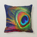 Colorful Peacock Feather Print Throw Pillow