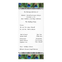 Colorful Peacock Feather Wedding Program