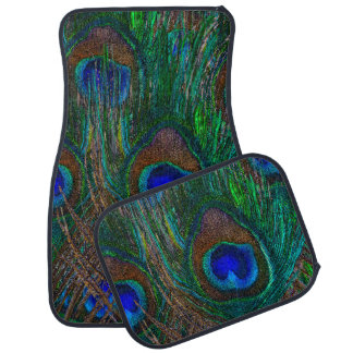 Colorful Peacock Feathers Etching Style Car Mat