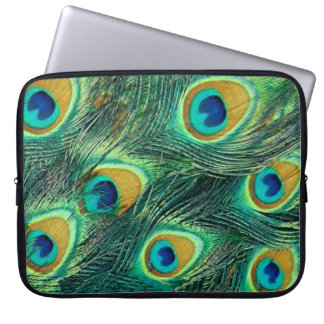 Colorful peacock feathers pattern Laptop Sleeve