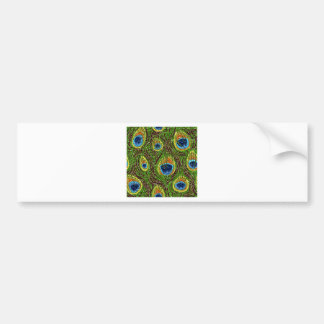 Colorful Peacock Feathers Print Bumper Stickers
