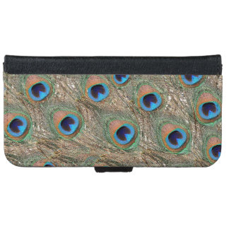 Colorful Peacock Feathers Wallet Phone Case For iPhone 6/6s