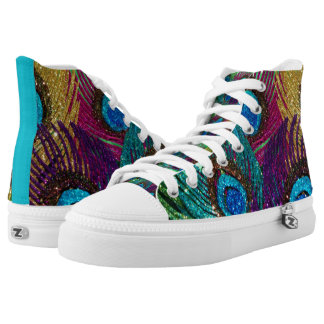 Colorful Peacock High-Top Sneakers