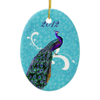 Colorful Peacock Our First Christmas Ornament