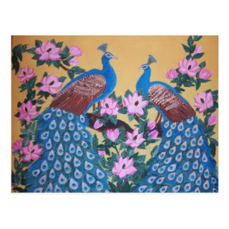 Colorful Peacock paon magnolias acrylic painting Postcard