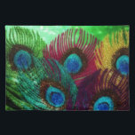 """Colorful Peacock Placemat<br><div class=""""desc"""">A rainbow of peacock feathers against a green background.  The design sparkles to life.</div>"""