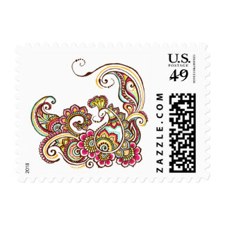 colorful peacock postage