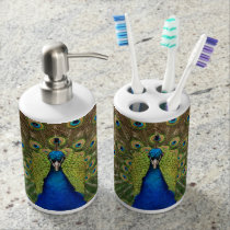 Colorful peacock print bath set