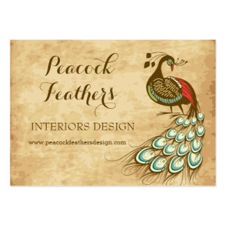 Colorful Peacock profile Large Business Card