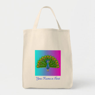 Colorful Peacock Rainbow Colors Bird Psychedelic Grocery Tote Bag