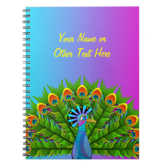 Colorful Peacock Rainbow Colors Bird Psychedelic Notebook