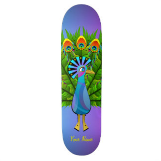 Colorful Peacock Rainbow Colors Bird Psychedelic Skate Boards