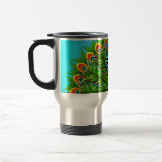 Colorful Peacock Rainbow Colors Bird Psychedelic Travel Mug
