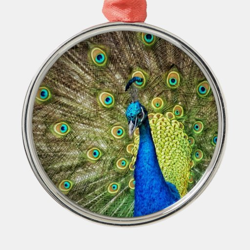 Colorful peacock round metal christmas ornament