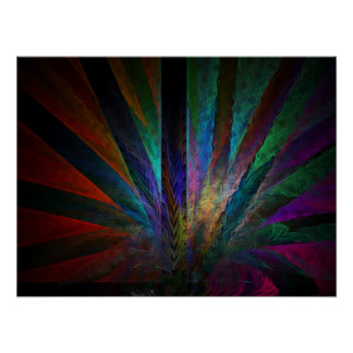colorful peacock tail poster