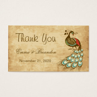 Colorful peacock Wedding Thank You Business Card