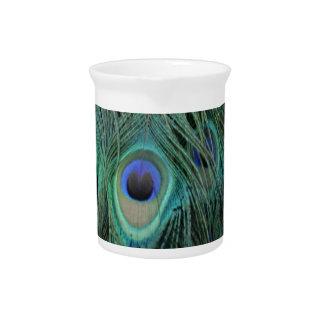 Colorful Peafowl Decor Beverage Pitcher