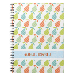 Colorful Pears And Stripes Seamless Pattern Spiral Notebook
