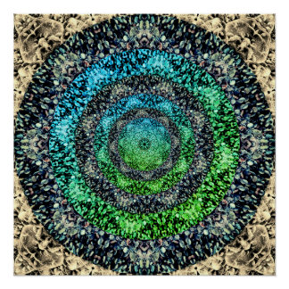 Colorful Pebbles Fractal Mandala Poster