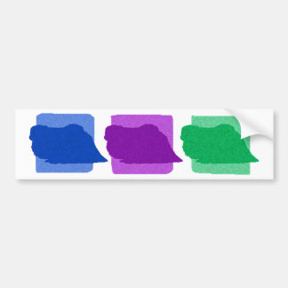 Colorful Pekingese Silhouettes Bumper Sticker