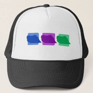 Colorful Pekingese Silhouettes Trucker Hat