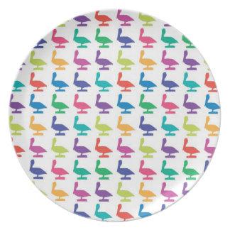 colorful pelicanes melamine plate