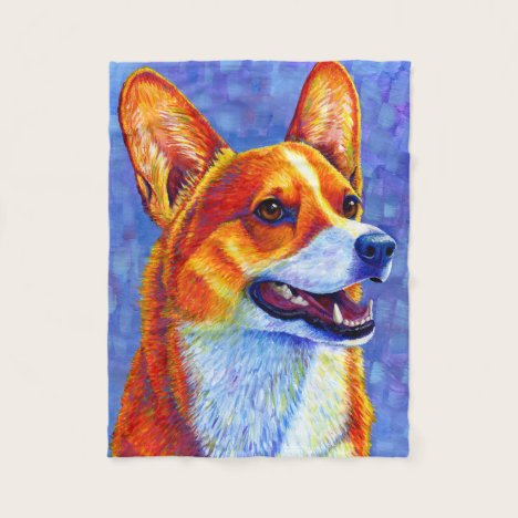 Colorful Pembroke Welsh Corgi Dog Fleece Blanket