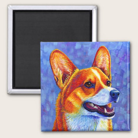 Colorful Pembroke Welsh Corgi Dog Magnet