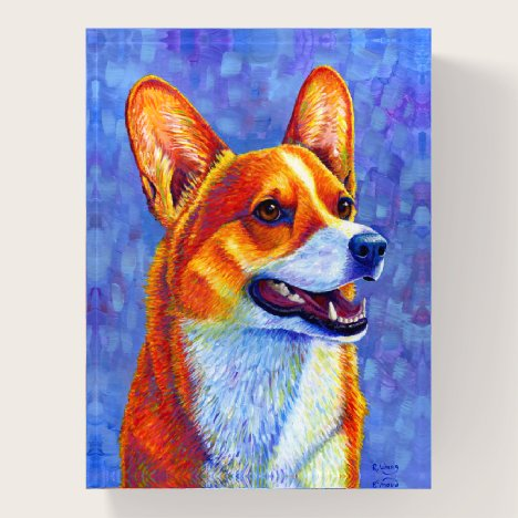 Colorful Pembroke Welsh Corgi Dog Paperweight