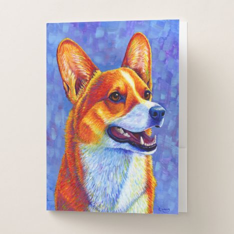 Colorful Pembroke Welsh Corgi Dog Pocket Folder